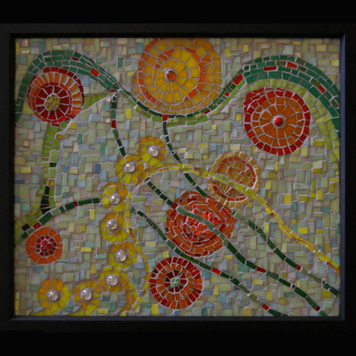 Framed Mosaic Flowers